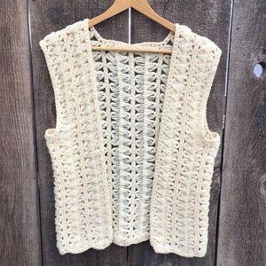VTG Hand Knit BoHo Cream Open Front Vest